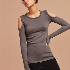 Wilfred Free Cold Shoulder Knit Top Gray